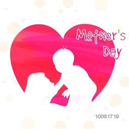 Creative pink heart cut in shape of Mother and a cute little Baby for Happy Mother's Day celebration.