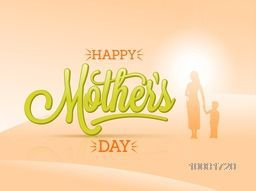 Stylish text Happy Mother's Day with silhouette of a woman with his son on glossy background. Elegant greeting card design for Mother's Day celebration.