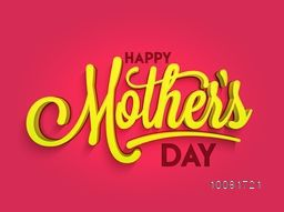 Creative glossy text Happy Mother's Day on shiny pink background, Stylish typographical background, Poster, Banner or Flyer design.