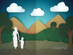 Creative paper cut style nature view with white illustration of a woman holding her child's hand for Happy Mother's Day celebration concept.