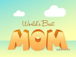 Glossy 3D text Mom on shiny background, Elegant greeting card design for Happy Mother's Day celebration.