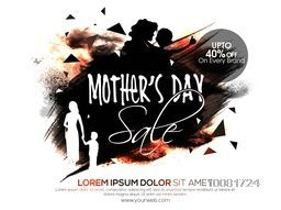 Abstract design decorated, Mother's Day Sale Poster, Sale Banner, Sale Flyer, 40% Discount on Every Brand, Sale Background.