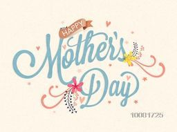Elegant greeting card design with stylish text Happy Mother's Day on stars decorated background.