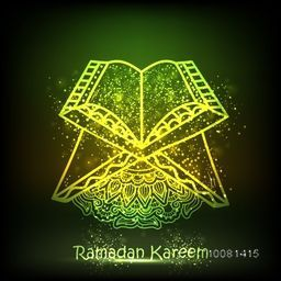 Islamic Religious Book Quran Shareef on shiny green background for Holy Month of Muslim Community Festival, Ramadan Kareem celebration.