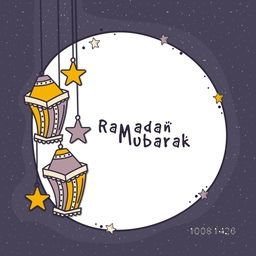 Elegant greeting card design with traditional hanging lamps and space for your wishes, Concept for Islamic Holy Month, Ramadan Mubarak celebration.