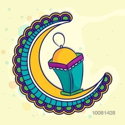Colourful floral design decorated, Crescent Moon with Lamp on yellow background for Holy Month of Muslim Community Festival, Ramadan Kareem celebration.