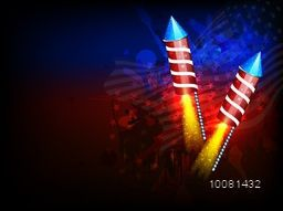 American Independence Day celebration with glowing exploding Rockets on abstract National Flag colors background.
