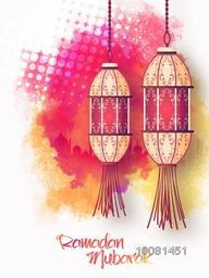 Beautiful traditional Lamps hanging on mosque silhouetted colourful background, Elegant Pamphlet, Banner or Flyer for Ramadan Mubarak.
