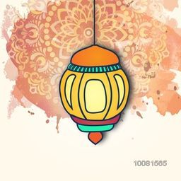 Traditional colourful Lamp hanging on floral decorated background, Vintage greeting card design for Islamic Holy Month, Ramadan Kareem celebration.