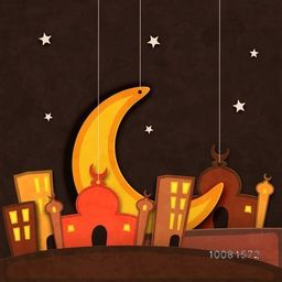 Creative paper Mosque with Big Crescent Moon hanging on stars decorated grungy brown background for Islamic Holy Month of Prayers, Ramadan Kareem celebration.