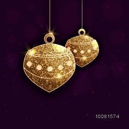Beautiful shiny lamps made by golden glitter for Islamic Holy Month, Ramadan Kareem celebration.