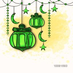 Greeting Card design with creative Green Lamps, Crescent Moons and Stars for Islamic Holy Month, Ramadan Kareem celebration.