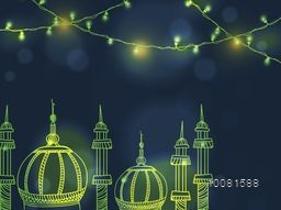 Creative shiny Mosque with lights decoration for Muslim Community Festival celebration.