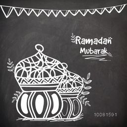 Beautiful Lamps made by white chalk on blackboard background for Islamic Holy Month of Fasting, Ramadan Mubarak.