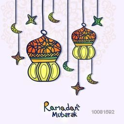 Elegant greeting card with beautiful hanging Lamps, Crescent Moons and Stars on floral design decorated background for Islamic Holy Month, Ramadan Mubarak.