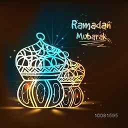 Traditional glossy Lamps on shiny brown background for Islamic Holy Month, Ramadan Mubarak.
