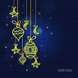 Elegant greeting card decorated with golden lamps, moons and stars on seamless blue background for Islamic Holy Month, Ramadan Kareem celebration.