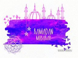 Creative Mosque with purple paint stroke for Holy Month of Muslim Community, Ramadan Mubarak.