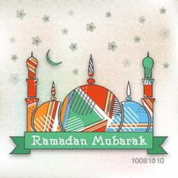 Creative colourful Mosque on stars decorated background for Islamic Holy Month of Prayers, Ramadan Mubarak celebration.