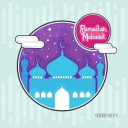 Creative Mosque on stars decorated background, Can be used as sticker, tag or label design for Islamic Holy Month, Ramadan Mubarak celebration.