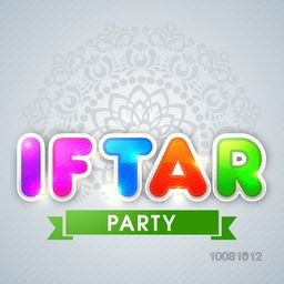 Glossy colourful text Iftar Party on floral decorated background, Can be used as greeting card or invitation card design for Islamic Holy Month of Fasting celebration.