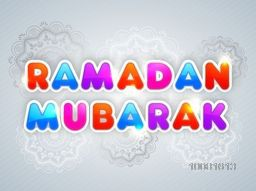 Glossy colourful paper text Ramadan Mubarak on floral decorated background, Can be used as sticker, tag or label design.