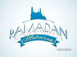 3D text Ramadan Mubarak with blue Mosque on shiny background, Can be used as poster, banner or flyer design for Muslim Community Festival celebration.