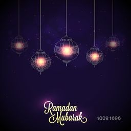 Elegant greeting card design decorated with beautiful glowing lamps hanging on shiny purple background for Islamic Holy Month, Ramadan Mubarak concept.