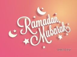 Stylish 3D text Ramadan Mubarak with stars and crescent moons on shiny background for Islamic Holy month celebration.