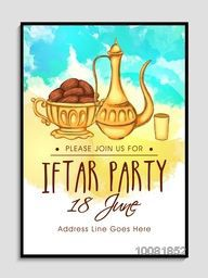 Creative Invitation Card design with illustration of sweet dates for Ramadan Kareem, Iftar Party celebration.