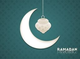 Glossy Crescent Moon with hanging Lamp on beautiful seamless background for Islamic Holy Month, Ramadan Mubarak celebration.