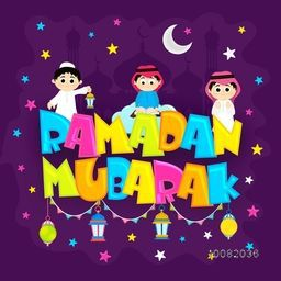 Colourful text Ramadan Mubarak with Islamic Kids and Traditional Lanterns on Mosque silhouette background for Holy Month of Prayer Celebration.