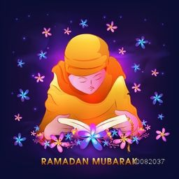 "Elegant Illustration of Young Islamic Girl in Traditional Outfit, Reading Holy Book of Muslim Community ""Quran Shareef"" on glowing purple background for Ramadan Mubarak."