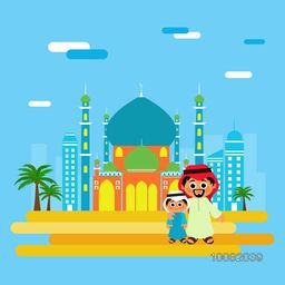 Illustration of Arabic Man with his Son in front of Mosque, Celebrating and enjoying on occasion of Muslim Festivals.
