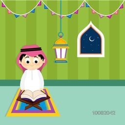 "Cute Little Arabic Boy reading Holy Book ""Quran Shareef"" on creative Background for Islamic Festivals Celebration."