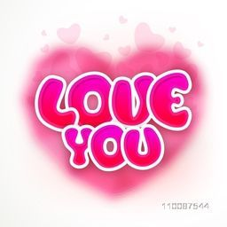 Paper Text Love You on pink hearts decorated background for Happy Valentine's Day celebration.