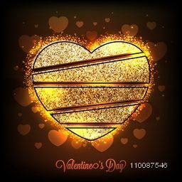 Sparkling Heart design made by Golden Glitter, Glowing greeting card for Happy Valentine's Day celebration.