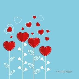 Beautiful red paper hearts decorated background for Happy Valentine's Day celebration.