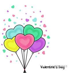 Colorful heart shaped balloons for Happy Valentine's Day celebration.