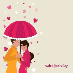 Young Couple in love under umbrella on hearts decorated background, Vector for Happy Valentine's Day celebration.