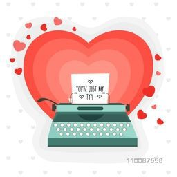 Typewriter with paper on hearts decorated background, Creative illustration for Happy Valentine's Day celebration.