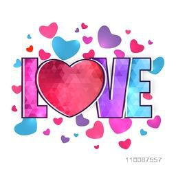 Creative colorful text Love on hearts decorated background for Happy Valentine's Day celebration.