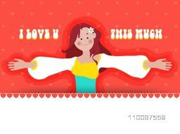 Elegant greeting card design with illustration of young girl showing her love, Vector for Valentine's Day celebration.