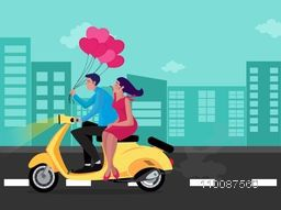 Young Couple on bike ride, Creative illustration for Happy Valentine's Day celebration.