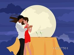 Beautiful young couple in love, Dancing on full moonlight night background.
