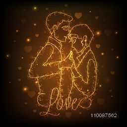 Golden illustration of young dancing couple on hearts decorated background for Love concept.