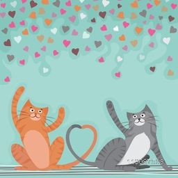 Cute Dancing Cats on colorful hearts decorated background for Happy Valentine's Day celebration.