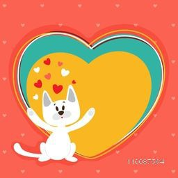 Cute white cat on hearts decorated background for Happy Valentine's Day celebration.