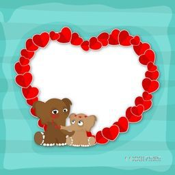 Red Hearts decorated frame with cute elephants, Elegant greeting card design for Happy Valentine's Day celebration.