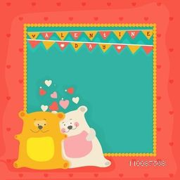 Happy Valentine's Day celebration greeting card design with illustration of cute teddy bears and space for your text.